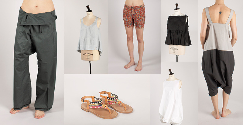 babyandco:  Hot weather! YES! What we're wearing, left to right: Hannes Roether fisherman pants, High pale blue tank, Bellerose print shorts, Hache sandals, pleated blouse, and white bubble tunic, A.B. jumpsuit.