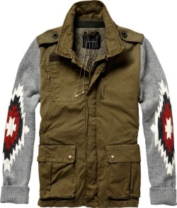 Wannahave  Eclectic army jacket with Tribal ikat knit sleeves by Maison Scotch