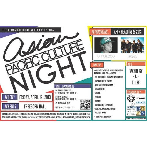 "Upper NorCal heads! Me and @legacimusic are performing tonight for the ""Asian Pacific Culture Night"" at UC Davis. Should be fun times so come thru! #ACPN"