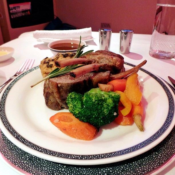 #Main course on the #flight - #rack of #lamb with #vegetables - #travel #food