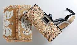Accessories gone au naturel for spring. L to R: Anya Hindmarch, Roger Vivier, Pierre Hardy. [Via WWD]