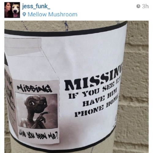 #slap spotted by @jess_funk_ in #southside #birmingham #ETisMISSING  #phonehome #etee #astraea #slap #slaps #nonsense #definitelynotart #streetart #missing #ET #fivepoints #5points