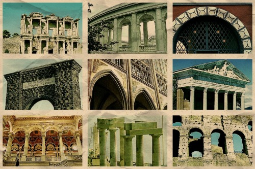Arches and columns around the world.  Ephesus.  Arlington.  Weimar.  Yellowstone.  Cologne.  Olympia. Washington DC.  Lindos.  Rome.