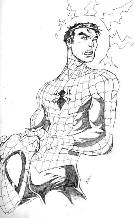 holiday sketch 4-spidey by ~deemonproductions