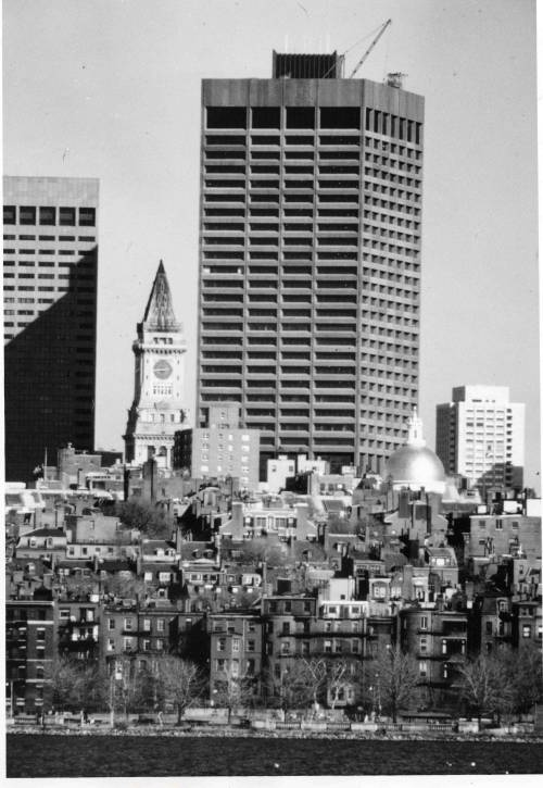 Custom House Tower and Boston Skyline, ca. 1974-1976, Boston 200 records, Collection # 279.001  This work is free of known copyright restrictions. Please attribute to City of Boston Archives