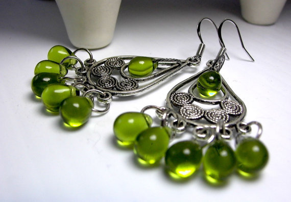 (via Chandelier Earrings Boho Chandeliers Green Glass by LocaDesign)