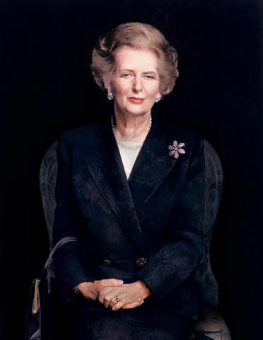 This is the official portrait of the late Margaret Thatcher, hanging in Number 10 Downing Street. It was painted by the famed British portrait artist Richard Stone quite late in her life, and was only unveiled in 2009, nearly 20 years after her resignation. I personally feel it makes her look a bit haggard, but there's an understated elegance to it that deserves praise, especially when compared to the garish portrait of her Tory predecessor, Ted Heath:  The portrait of her most immediate predecessor as prime minister, James Callaghan, was a bit better, though all the wasted space suggests the artist probably wished he was painting something else: