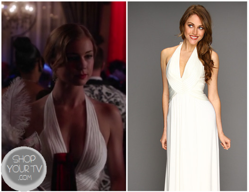Emily Thorne (Emily Van Camp) wears this white gown in this week's episode of Revenge.It is the BCBGMAXAZRIA Anitra Halter Gown.  Buy it HERE for $468