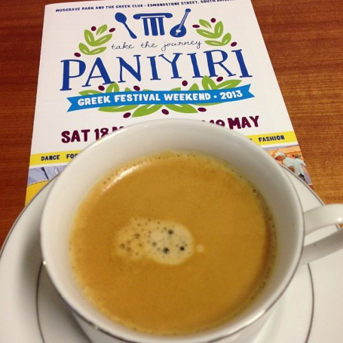Good morning. Office #coffee and reminding myself of the weekend #paniyiri2013 @paniyirigreekfestival  (at Scarborough House)