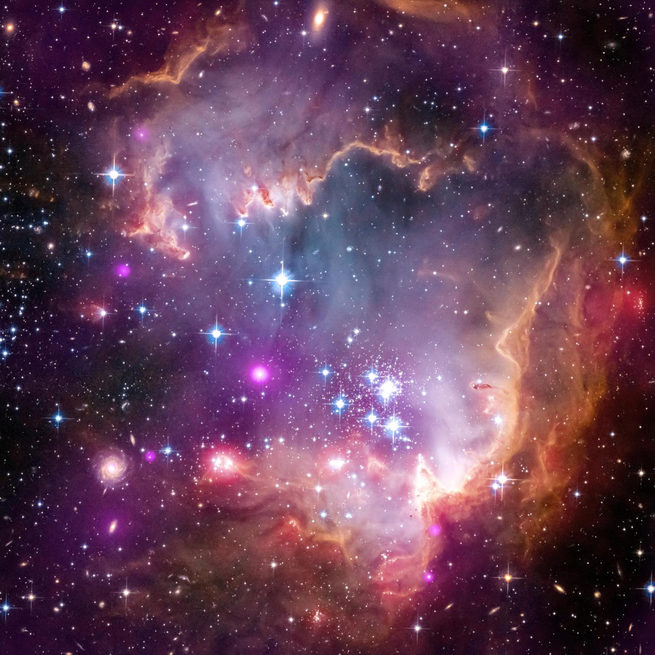 "Taken Under the 'Wing' of the Small Magellanic Cloud  The tip of the ""wing"" of the Small Magellanic Cloud galaxy is dazzling in this new view from NASA's Great Observatories. The Small Magellanic Cloud, or SMC, is a small galaxy about 200,000 light-years way that orbits our own Milky Way spiral galaxy. The colors represent wavelengths of light across a broad spectrum. X-rays from NASA's Chandra X-ray Observatory are shown in purple; visible-light from NASA's Hubble Space Telescope is colored red, green and blue; and infrared observations from NASA's Spitzer Space Telescope are also represented in red. The spiral galaxy seen in the lower corner is actually behind this nebula. Other distant galaxies located hundreds of millions of light-years or more away can be seen sprinkled around the edge of the image. The SMC is one of the Milky Way's closest galactic neighbors. Even though it is a small, or so-called dwarf galaxy, the SMC is so bright that it is visible to the unaided eye from the Southern Hemisphere and near the equator. Many navigators, including Ferdinand Magellan who lends his name to the SMC, used it to help find their way across the oceans. Modern astronomers are also interested in studying the SMC (and its cousin, the Large Magellanic Cloud), but for very different reasons. Because the SMC is so close and bright, it offers an opportunity to study phenomena that are difficult to examine in more distant galaxies. New Chandra data of the SMC have provided one such discovery: the first detection of X-ray emission from young stars, with masses similar to our sun, outside our Milky Way galaxy. NASA's Jet Propulsion Laboratory, Pasadena, Calif., manages the Spitzer Space Telescope mission for NASA's Science Mission Directorate, Washington. Science operations are conducted at the Spitzer Science Center at the California Institute of Technology in Pasadena. Data are archived at the Infrared Science Archive housed at the Infrared Processing and Analysis Center at Caltech. Caltech manages JPL for NASA. For more information about Spitzer, visit http://spitzer.caltech.edu andhttp://www.nasa.gov/spitzer. Image Credit:NASA/CXC/JPL-Caltech/STScIImage Addition Date:2013-04-03"