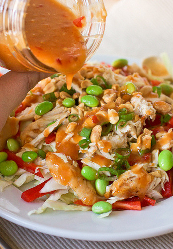 salad with sweet chili thai dressing.