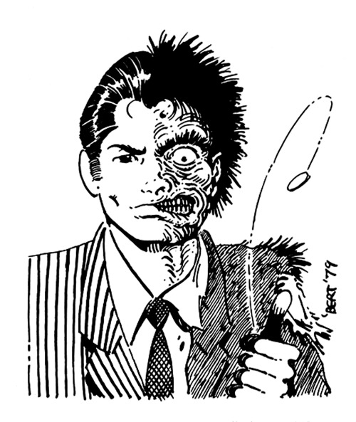 Two-Face illustration by Gilbert Hernandez from The Comics Journal, 1979.