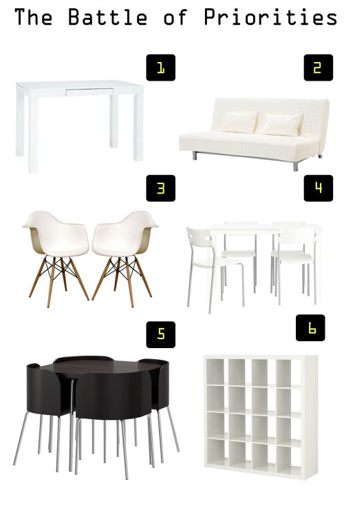 1. Parsons Desk vs. 2.  Ikea Sofa Bed  3. Baxton Studio Fiorenza White Plastic… http://wp.me/s3aVjp-3118View Post