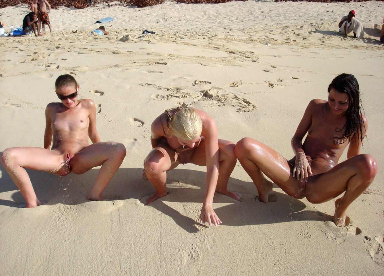 Mature nude beach pee
