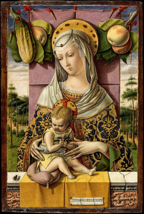 Madonna and Child, tempera and gold on wood, Carlo Crevelli, ca. 1480. The apples and the fly (in each corner) are symbols of sin and evil, while the cucumber and the goldfinch (in the child's hands) are symbols of redemption.