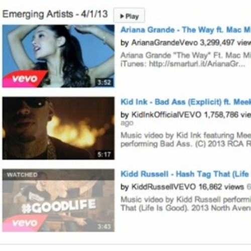Featured on @vevo emerging artist Chanel with some huge artist #HashTagThat