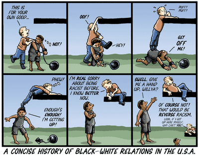 Title:  A Concise History of Black-White Relations in the U. S. A.  White guy says to black guy in chains,