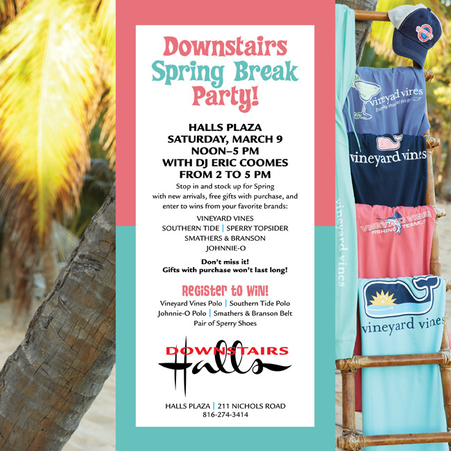 Ain't no party like a spring break party! Halls Downstairs, Country Club Plaza.