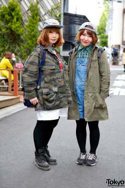 tokyo-fashion:  Friendly Harajuku girls in military jackets, caps & backpacks.