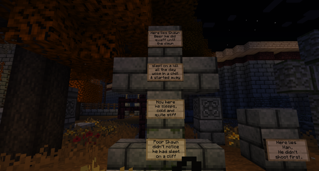 Been working on a graveyard, making epitaphs. Going to be hard to top this one…