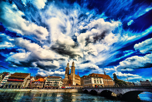 HDR of Zurich with Grossmünster church and the river Limmat.  http://www.flickr.com/photos/werner_b/ https://www.facebook.com/pages/WBuchel-Photography/255571017808180