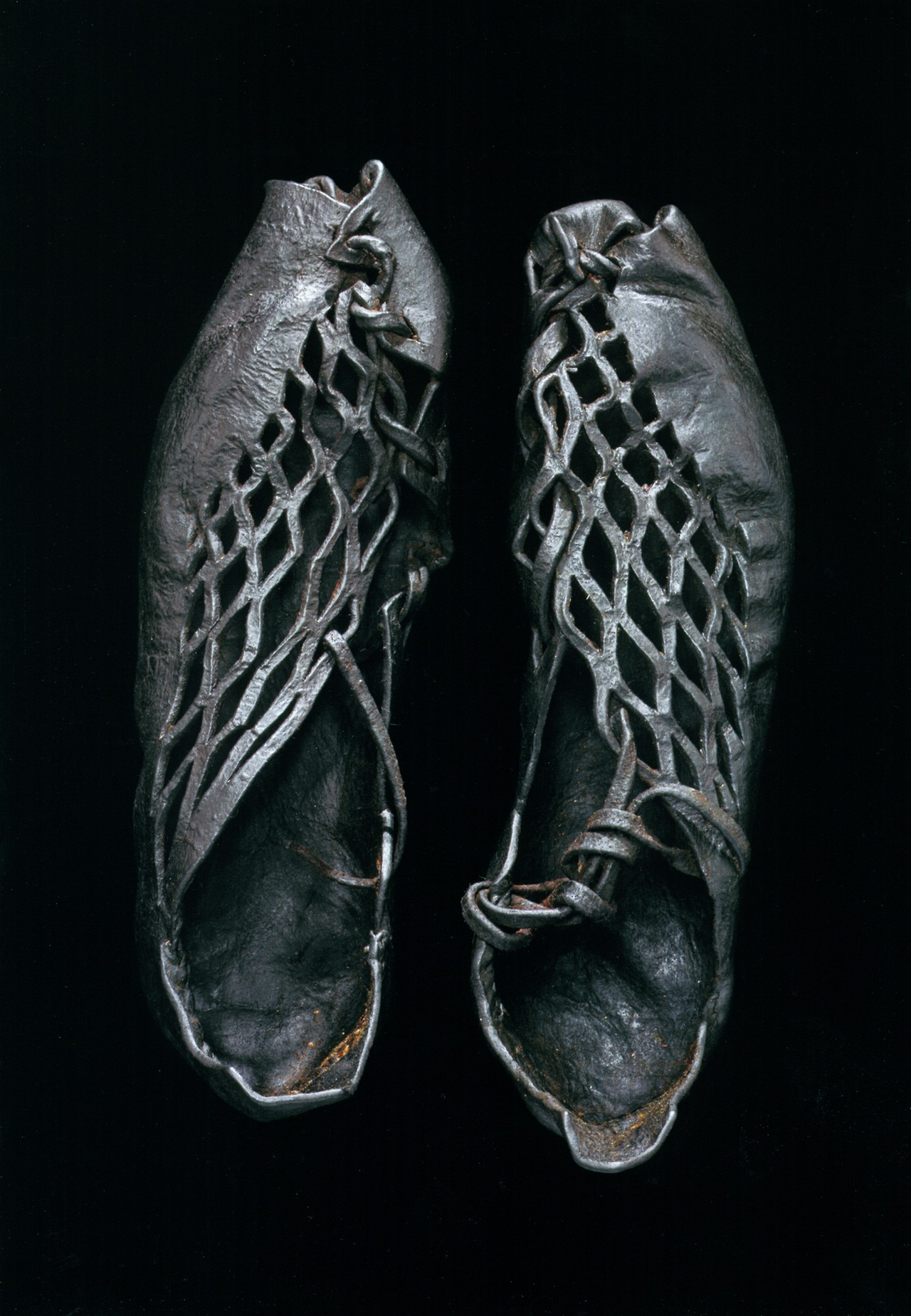 theshinyboogie:  Iron Age shoes (ca. 400 BCE to 400 CE) found on body found in European bog Photo by Robert Clark, September 2007 National Geographic