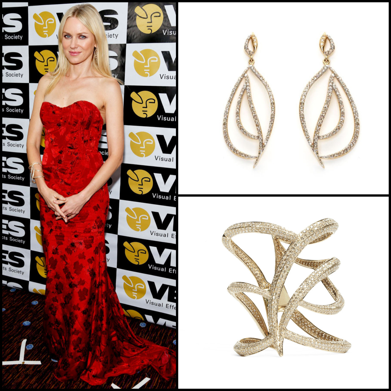 Naomi Watts walks the red carpet in our Diamond Owl Cuff http://bit.ly/UZMma1 and Earrings http://bit.ly/WeBLff