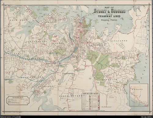 Map of Sydney & suburbs showing tramway lines and stopping places