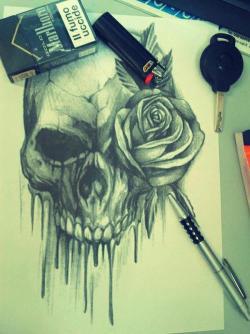 drawing tattoo skull