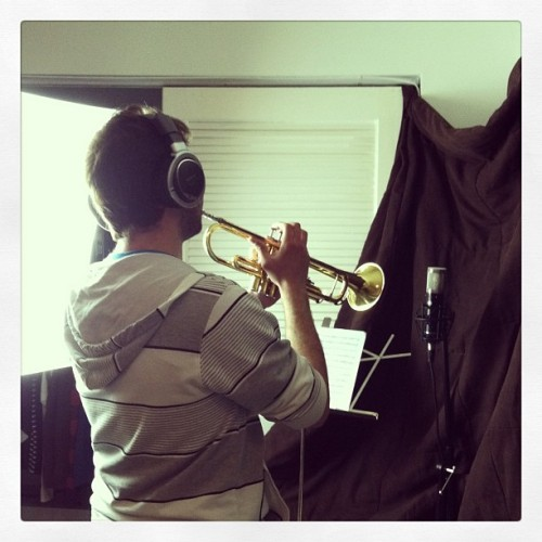 Jivko, recording some trumpet for us! #trumpet #recording #oooyea