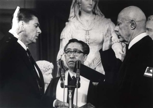 January 2, 1967.  Ronald Reagan is inaugurated as California Governor.  Photo via the Ronald Reagan Presidential Library.