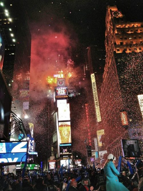 The scene from Times Square as the clock struck midnight. (NBC photo; ht BreakingNews)