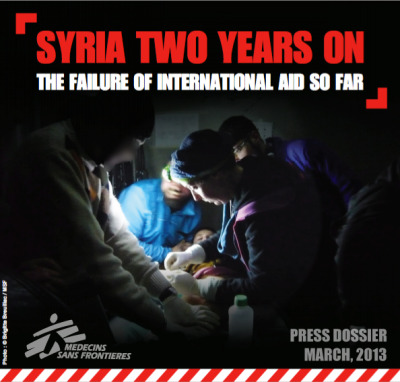 Syria Two Years On: The Failure of International Aid So Far Since the first protests broke out in Syria in March 2011, the country has spiralled into all-out war. After two years of an extremely violent conflict which has resulted in more than 70,000 dead according to the United Nations, the Syrian people are faced with a humanitarian catastrophe.  Read this report to learn more about how conflict has put the healthcare system in jeopardy. Despite repeated requests, MSF has not received permission from the government to work in the country, but has been able to open three hospitals in the opposition-held areas in the north where assistance remains well below the level of the needs.