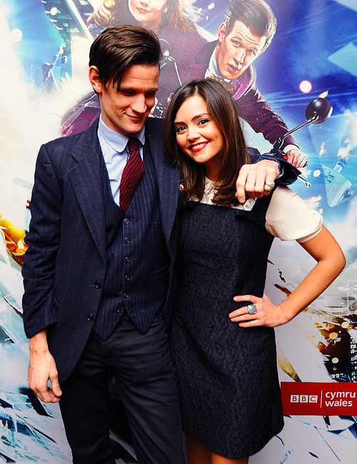 clara-oswald:  jenna-louise coleman and matt smith at the doctor who series 7.2 screening, 15.3.13