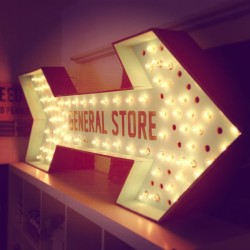 I made a sign for the new look general store site coming soon - here is a terrible preview picture of it. #sign #type #lightbulb by telegramme http://bit.ly/XiADZJ