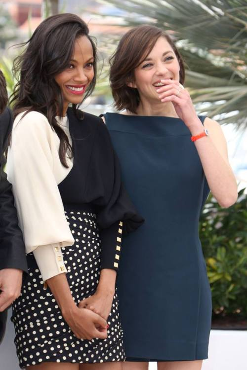 beyondcelebrity:  Zoe Saldana + Marion Cotillard. Cannes | Day 6  oh man can they have a film together like  i would take a buddy cop film or a sociopaths-for-arson film or a road trip film