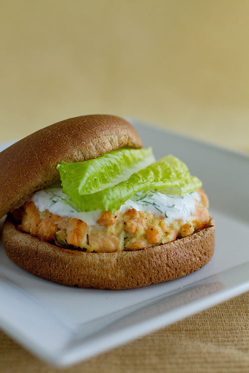 in-my-mouth:  Salmon Burgers with Yogurt-Dill Sauce