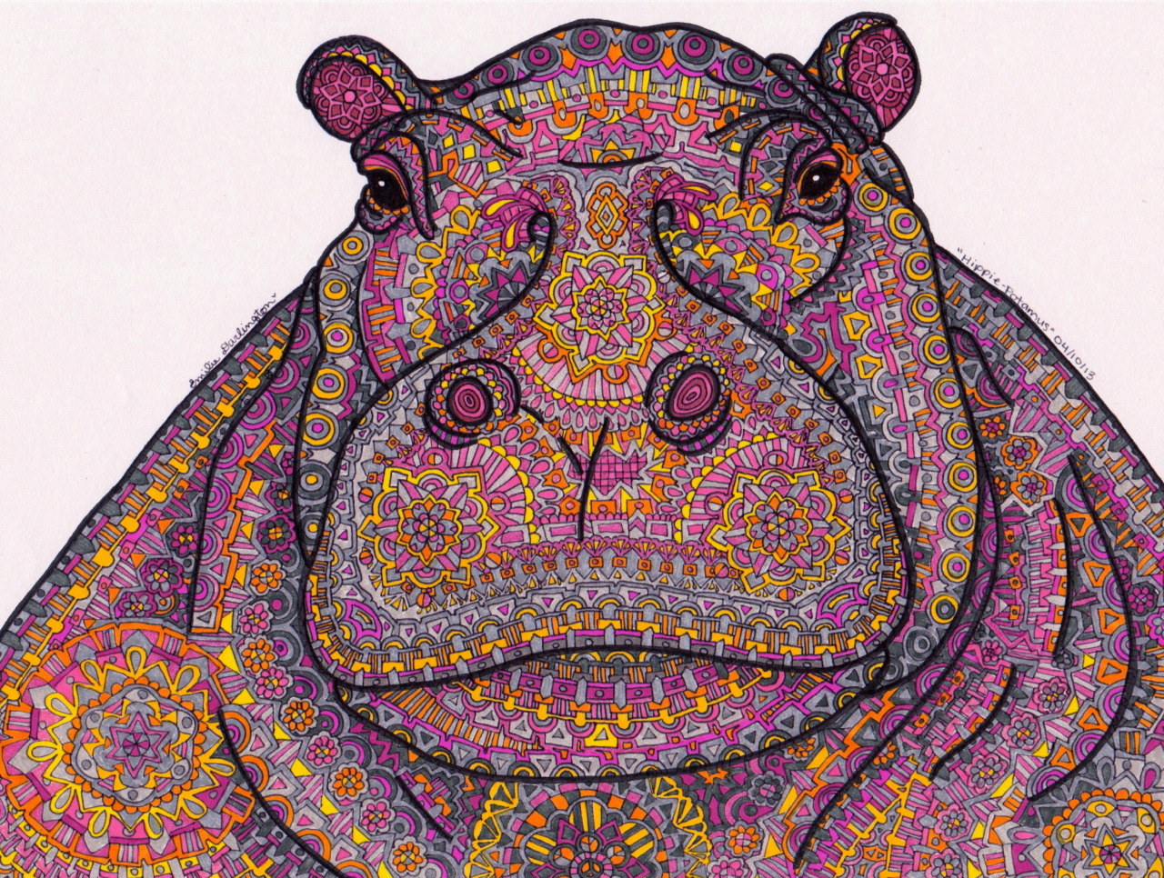 "The original Pink ""Hippie-Potamus"" is $200, but I also sell prints beginning at $20! Send me a message if you're interested, I also absorb the cost of domestic shipping :)"