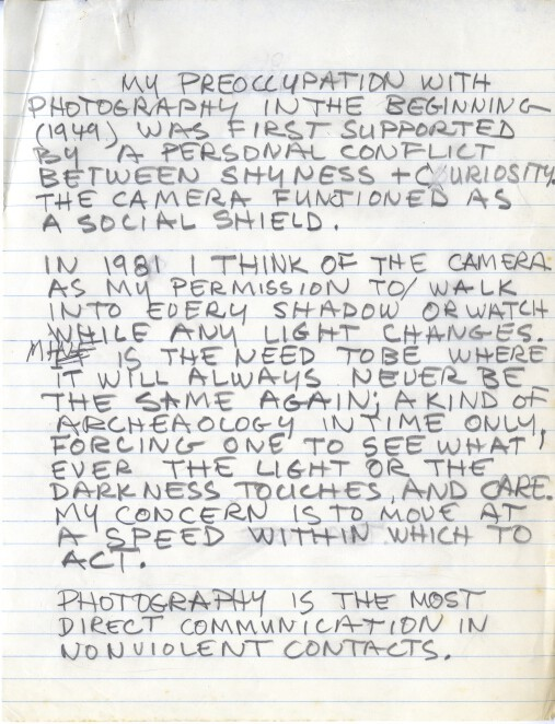 Robert Rauschenberg's handwritten draft of a statement on photography first published in Rauschenberg Photographs, Pantheon Books, New York, 1981. From the Robert Rauschenberg Foundation Archives
