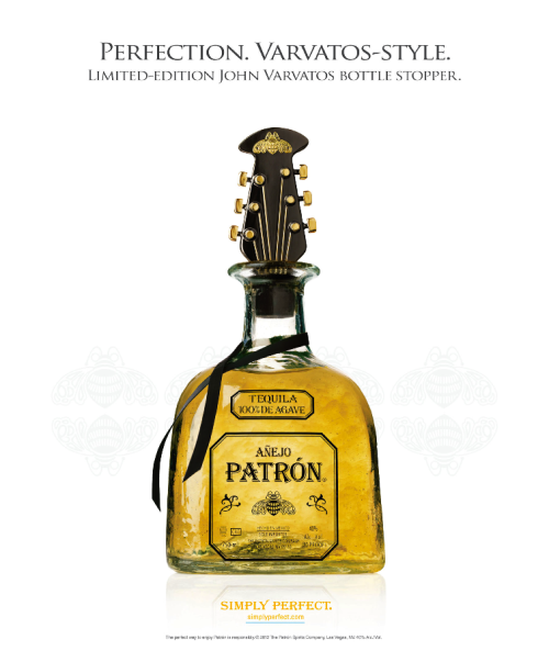 "Patrón Spirits has partnered with world-renowned designer John Varvatos to release it's first-ever new design element for the Patrón bottle. The ""Rock ' n Roll"" inspired stopper is made exclusively for the Patrón Añejo tequila.  We remind you this holiday season to drink responsibly and Happy Holidays!"