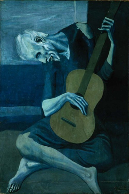 nymphsandsatyr:  The Old Guitarist, 1903Pablo Picasso
