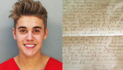 Just saying  Dear Justin Bieber, I'm very disappointed. It breaks my heart that you were in jail for just one night. I loved most of your songs. I dance to them a lot! So many things have changed this year. This is the biggest one yet! Why did you do it? Why did you race cars? What made you do it? Didn't you know it was a bad thing to do? You had such a great life! I've read your books and watched your movies. You had something special. But you gave it up for drugs. My whole life I have been warned about drugs! And now my idol has started taking them! There are many drunk people in the world and you have become one of them. That's sad to me! I think you should be disappointed in your self. Just take a minute to think about what you did. Sincerely,SerafinaAge 8Ohio, USA