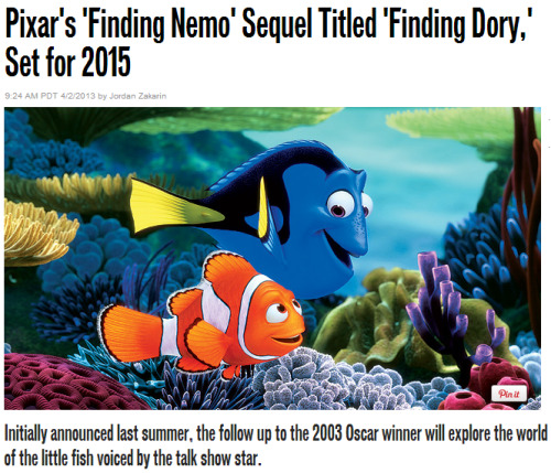 Ellen DeGeneres will reprise her role as Dory, the blue fish introduced in 2003's Finding Nemo, and co-director Andrew Stanton will return to helm Finding Dory as well. We hope you've been practicing your Whale. source Update: For all of those concerned about a possible April Fools' prank, it's worth noting that this story wasn't posted until after the start of normal business hours on April 2. Oh, and Ellen confirmed the news on her show. — Scott @ SFB