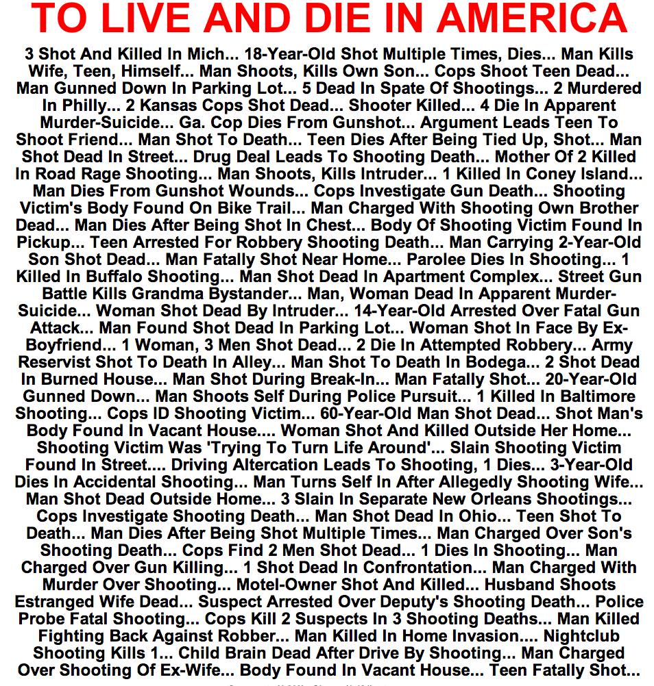"shortformblog:  ilovecharts:  To Live And Die In America  HuffPo with a powerful statement on its front page. The NRA's reaction to Newtown is below the ""fold."""