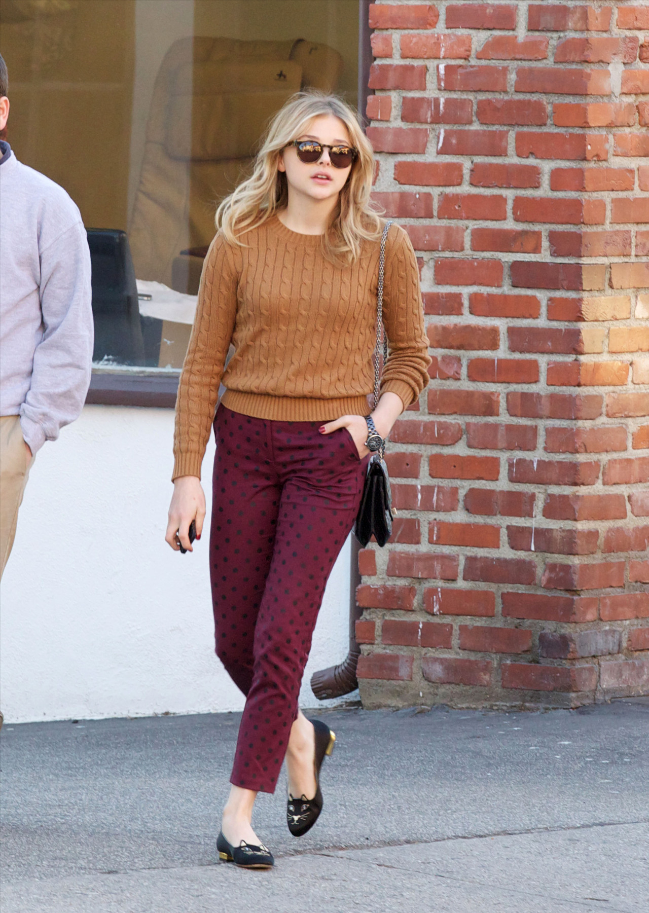 Chloe Moretz out in LA, January 12th Wearing Charlotte Olympia kitty flats