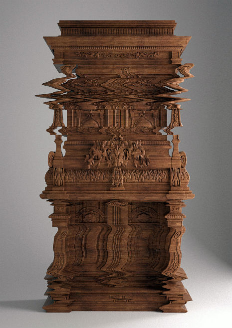 Hand-carved 'glitch' furniture made from wood. I got a design boner on this one.