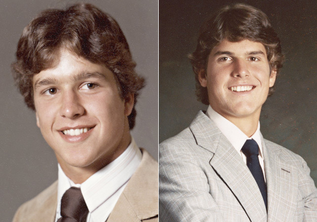 John (left) and Jim (right) Harbaugh pose at their high school graduations in 1979 and 1980 respectively. The two will become the first brothers to ever face off in the Super Bowl when the Ravens and 49ers meet a week from Sunday. (Courtesy of the Harbaugh Family) GALLERY: Childhood Photos of the Harbaugh Family