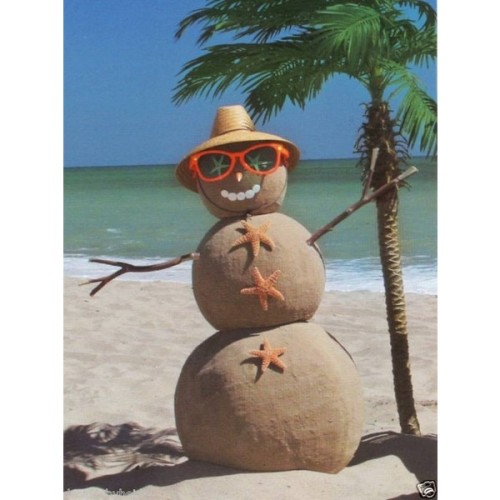 Tropical Beach Sand Snowman Christmas Fridge Magnet   (clipped to polyvore.com)