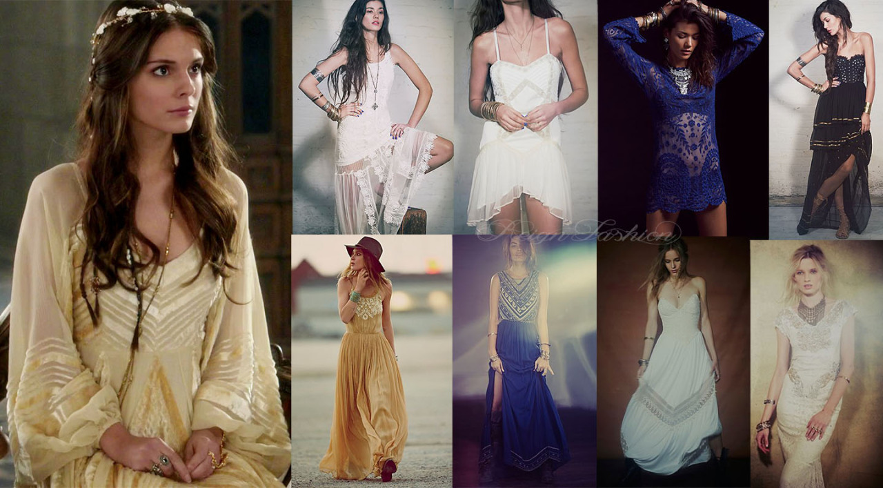 reignfashion:  Prom Series: Dresses inspired by Lady Kenna (all dresses from Free People)Kenna's style is very much bohemian, but she isn't afraid to step outside of that box. While we often see her in creams and whites, she will also don blacks and blues, sequins and embroidery, and bold patterns. We have seen her in gowns with sheer sleeves, and corsets with plunging necklines. Anything goes for Kenna, and she always looks incredible. Free People Emma Dress by Candela $495 Free People Lattice Dress $250 Free People Commemorative Bell Sleeve Dress $168 Free People Limited Edition Moonlight Dance Dress $600 Free People Full of Grace Dress by Mes Demoiselle $760 Free People Beaded Silk Chiffon Gown by Mara Hoffman $1,254 Free People Limited Edition Babe Strapless Maxi $400 Free People Jess' Limited Edition Victorian Maxi $500 Find dresses inspired by Mary here.(More Kenna dresses after the jump!) Read More