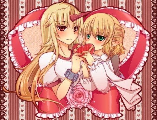 A really cute Yuugi and Parsee by amagumo.